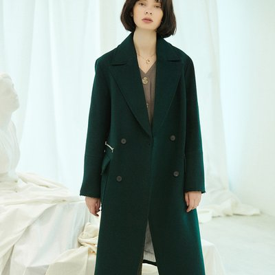 [30%할인적용가]stitch double coat Green