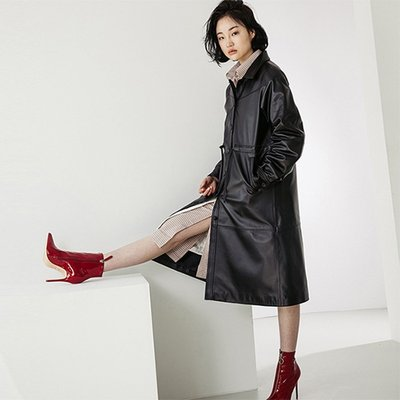 LAMB SKIN SINGLE TRENCHCOAT [BLACK] (2070756)