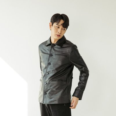 HORSE SKIN BOMBER LEATHER JACKET [BLACK] (2070627)