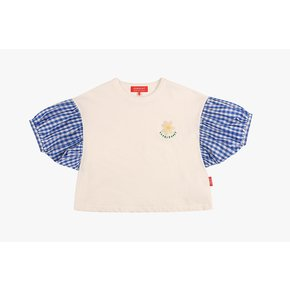 [SPECIAL SALE] Icebiscuit daisy check balloon sleeve tee