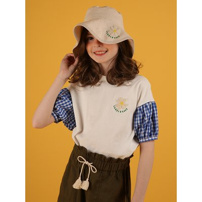 [30% sale] Icebiscuit daisy check balloon sleeve tee