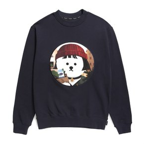 [기모]MOVIE WOMEN DOG PATCH SWEAT-SHIRTS 2019FW NAVY (3551629)