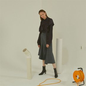 [MUSEE]Antwerp wool check skirt _ Gray check