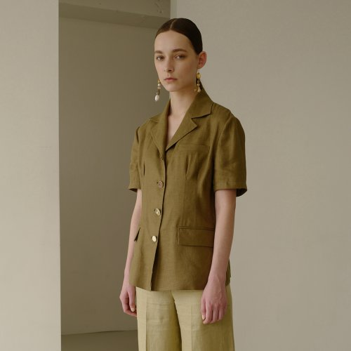 MIA SHORT SLEEVED LINEN JACKET awa246w(Khaki)