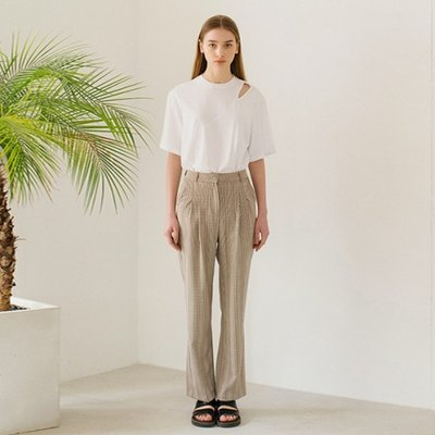 Checked Pintuck Pants - Beige