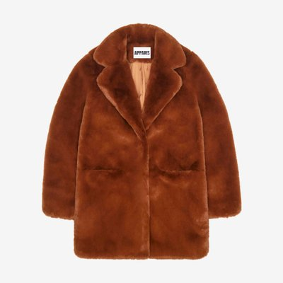 APPARIS  SOPHIE FAUX FUR MID LENGTH COAT CHOCOLATE F45