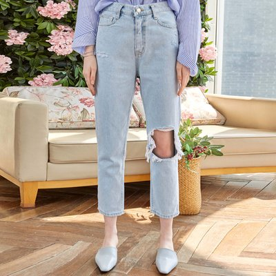 DAMAGE CROP LIGHT JEAN_DENIM (2222296)