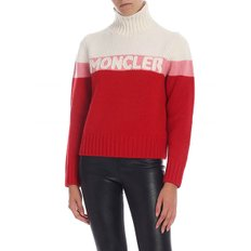 [몽클레어] Turtleneck pullover in cream color and red (9252550 A9141 455)