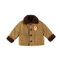 Bear baby harringbone check reversible jacket