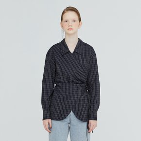 [가브리엘리] 19FW CHELSEA COLLAR GINGHAM WRAP BLOUSE - NAVY GINGHAM CHECK