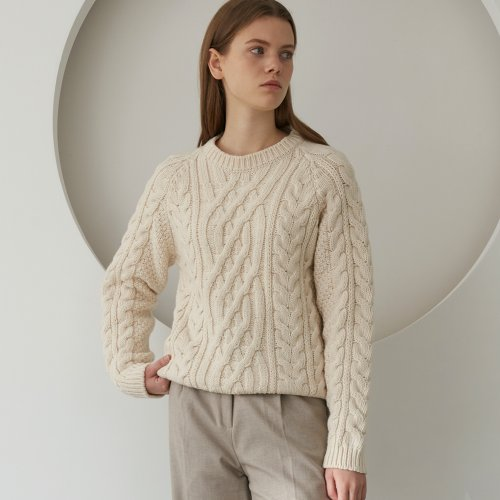 Cable Wool Knit Sweater (Beige)