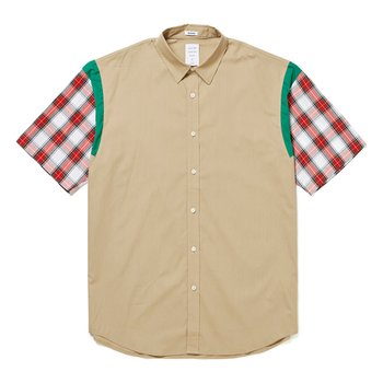 CHECK SLEEVE MODERN SHIRT - BEIGE