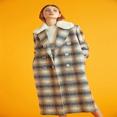 [LOVE ME BACK] FUR CHECK COAT