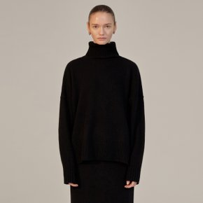 LEXIS CASHMERE PULL OVER KNIT - BLACK