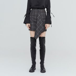 [가브리엘리] 19FW ASYMMETRICAL FRONT MINI SKIRT - DARK GREY CHECK