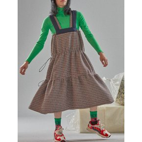[MIMICAWE] STRING WOOL CHECK DRESS