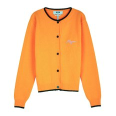 공식[MSGM] W_Logo Embroidery Cashwool Knit Cardigan(ORANGE)