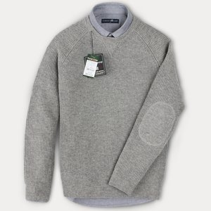[FOREST CAMP]Lambswool Crewneck Sweater/램스울 니쥬조직 라운드넥 스웨터/~4XL[FCSW8413-Medium Grey]best quality