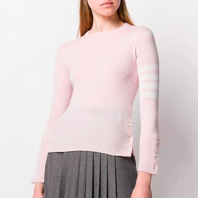 THOM BROWNE 톰브라운 STRIPED CASHMERE SWEATER PINK FKA001A00011680