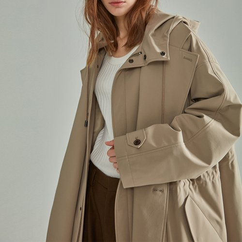 [NOHANT] LAYERED PADDING TRENCH COAT BEIGE