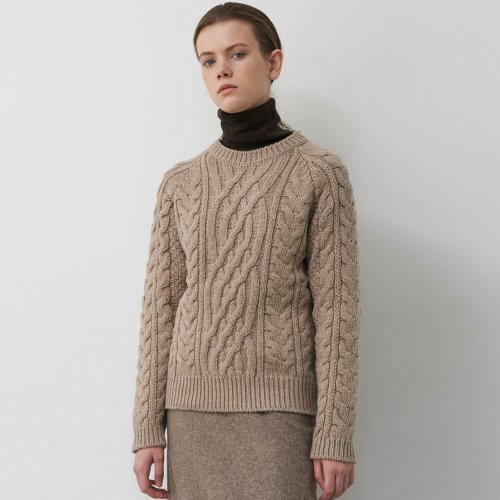 Cable Wool Knit Sweater (Brown)