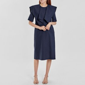 / seersucker ruffle-collar dress(2 colors)
