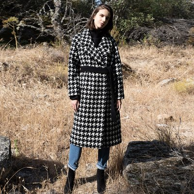 Sofia check double coat
