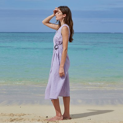 SQUARE BELTED DRESS_LILAC