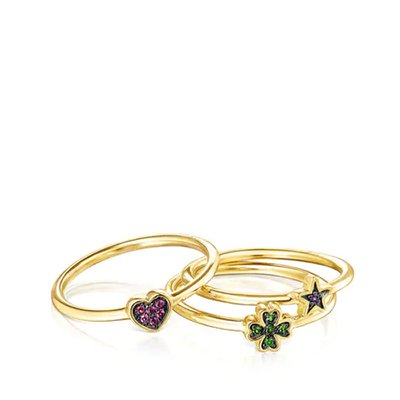 [최초출시가 169,000원]Set of Silver Vermeil Teddy Bear Stars Rings with Gemstones/반지/018075500/52(12호)