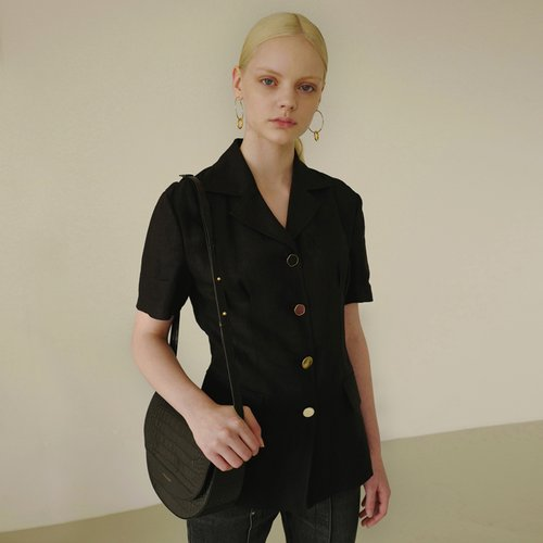 MIA SHORT SLEEVED LINEN JACKET awa246w(Black)