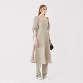SSG특별혜택가 [가브리엘리] 19SS SQUARE-NECK MIDI DRESS - OATMEAL