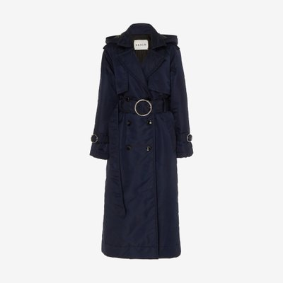 CAALO 칼로 DOWN FILLED SATIN TRENCH COAT NAVY 101N