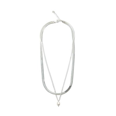 [레이브]Pearl Layered Necklace in Silver VX0SX0400