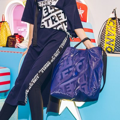 [L.P.Y] Diagonal logo Tote shopper-bag XL (Dark blue)