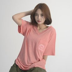 (UNISEX) Linen Wave V-neck Short Sleeve T-Shirt (PINK)_(1410609)