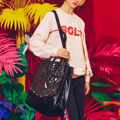 [L.P.Y] Diagonal logo Tote shopper-bag XL (Black)