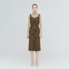 [가브리엘리] 19FW FRINGED-FRILL RAW-EDGED DRESS - KHAKI MELANGE