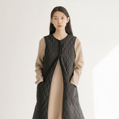 Quilted Long Vest - Black