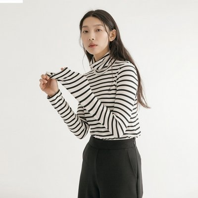 Stripe Turtleneck TOP - White