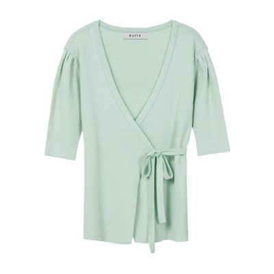 [레이브]Puff Short Sleeve Wrap Knit in Mint_VK0SP1250