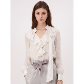 [까이에] V-neck Frill Silk Blouse