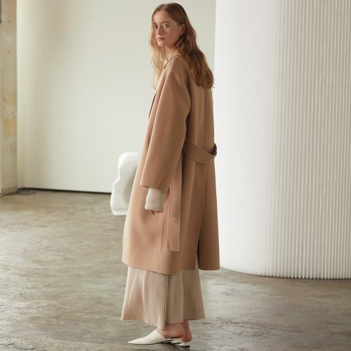 ★SSG 특별혜택가★[뮤제] Manet Cashmere Blended Wool Coat_Creamy Camel