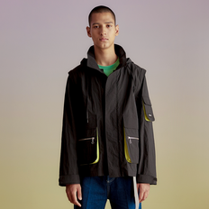 TRANSMUTABLE UTILITY WINDBREAKER JACKET awa143m(Black)