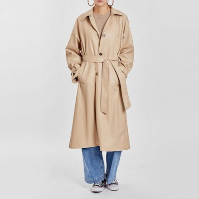 / wellmade vegan leather trench