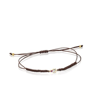 [최초출시가 147,000원]Mini Ivette Bracelet in Gold with Prasiolite, Amethyst and Brown Cord/팔찌/912191030