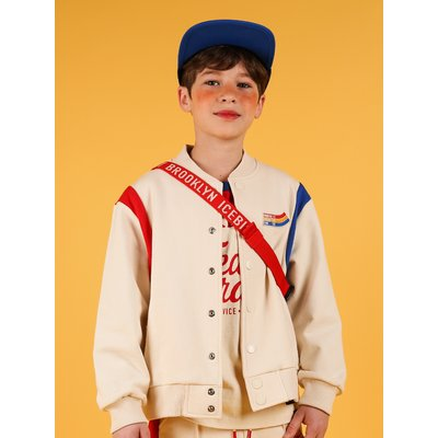 [20% SALE] Icebiscuit color block sweat baseball jacket