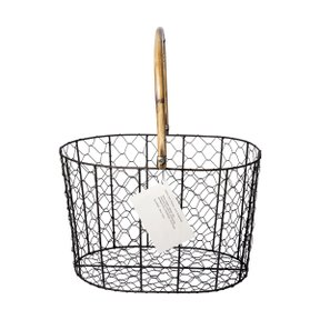 RATTAN HANDLE WIRE BASKET L