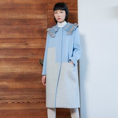 Knitted Blue Long Coat(TDFHC17)