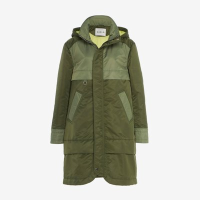 CAALO 칼로 AVIATOR SATIN HOODED JACKET GREEN 104G