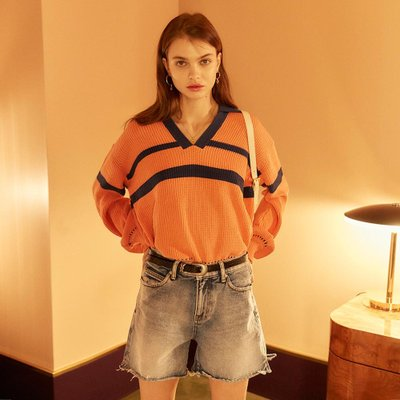 [레이브]Coloring V Neck Collar Knit in Coral_VK0SP1260
